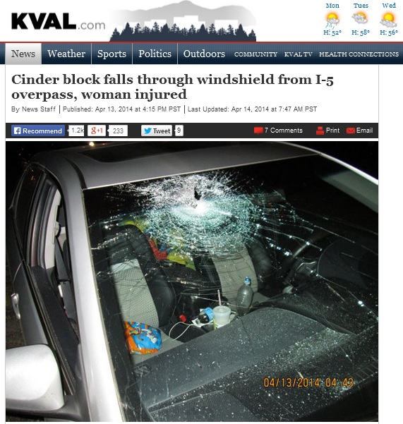 Cinder block falls through windshield from I-5 overpass, woman injured