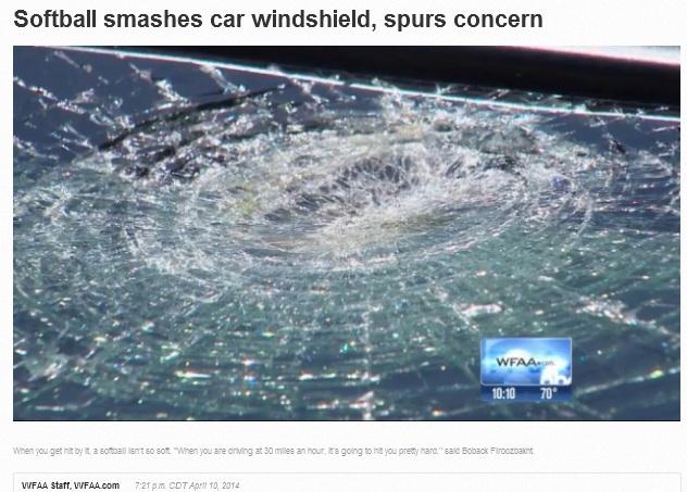 Softball smashes car windshield, spurs concern